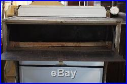 Very Rare Antique Blue White Metal Cast Iron Pointer Wood Burning Stove