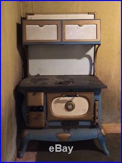 Vintage Admiral Blue Porcelain Cast Iron Cook Stove CIRCA 1900 Original