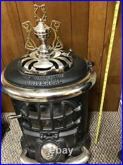 Vintage Antique Cast Iron Universal Palace Parlor Wood Coal Stove #116