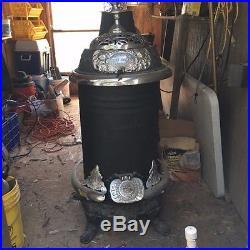 Vintage Antique Cole's'Original' Hot Blast Cast Iron Coal Burner