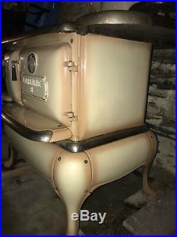 Vintage Cast Iron Enamel Beige LORRAINE Providence Wood Burning Cook Stove