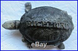 Vintage Cast Iron Match Holder Turtle Richmond Stove Co Norwich Ct (original)