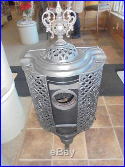Vintage Cast Iron Parlor Stove Restored Burns Wood Coal