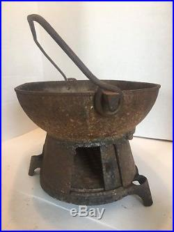 Vintage Columbus Ironworks Cast Iron Hibachi Grill Columbus Georgia 21-36lb