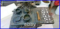 Vintage Small Mini CRESCENT Brand Wood Burning Replica Cast Iron Stove COMPLETE