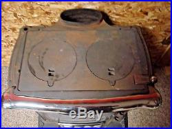 Vintage Wood Burning Cast Iron Parlor Stove Double Star
