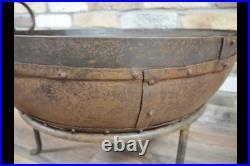 Vintage XL Kadai Fire Pit BBQ Wood Burner Garden Camping Stove Cauldron 60cm
