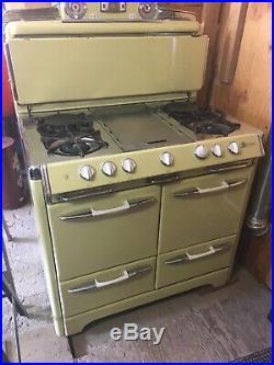 Vtg Antique 40s OKeefe Merritt Gas Stove Range Oven Cream Yellow Restored Works
