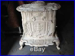 White Antique cast iron parlor stove 1870