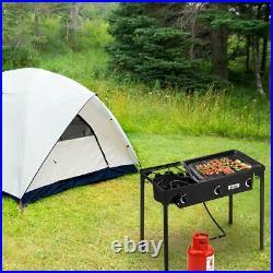 ZOKOP Portable Propane 225,000-BTU 3 Burner Gas Camping Picnic Stove BBQ Grill